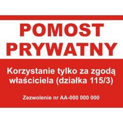 Pomost prywatny, tablica, znaki informacyjne, zakaz wstępu, nieupoważnionym wstęp wzbroniony