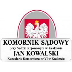 Tablica urzędowa komornik sądowy biała + godło Polski