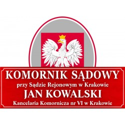 Tablica urzędowa komornik sądowy + godło Polski